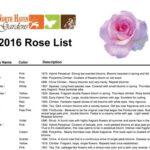 2016 Rose List