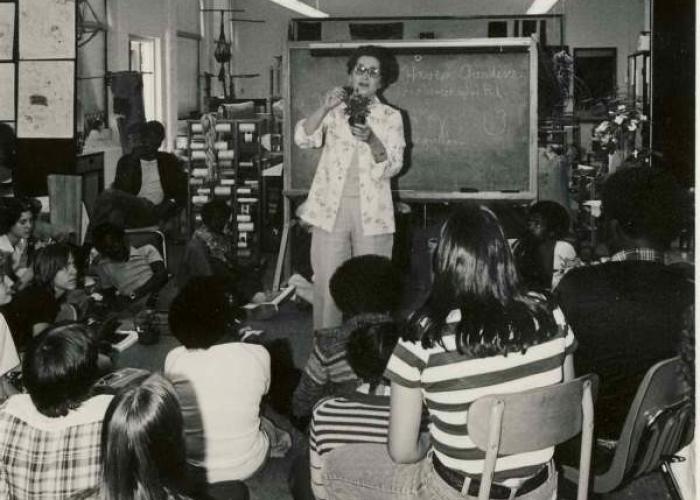 Muriel Pinkus teaches a class, 1970.
