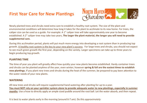 First Year Care Guide for new plantings at North Haven Gardens