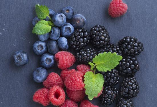 Blueberries, blackberries and raspberries.