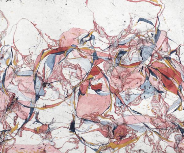 "Color Debate, watercolor on etching, 11x14"""